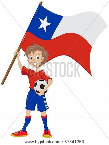 Happy soccer fan holds Chile flag