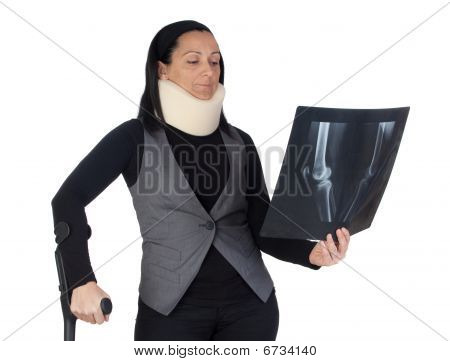 Woman With Cervical Collar And Radiography