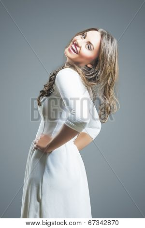 Positive Emotional Brunette Woman Sincerely Laughing