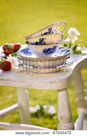 Pretty antique blue and white china in the garden for afternoon tea