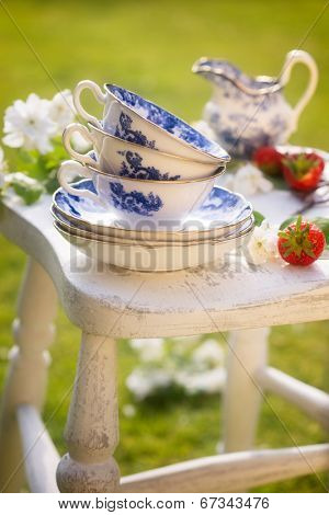 Antique blue and white cups and saucers for afternoon tea