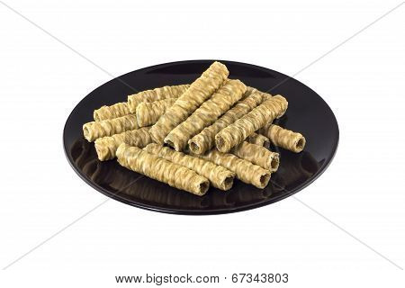 Rolled Wafer On White Background