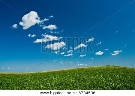 Green Hill Under Skies