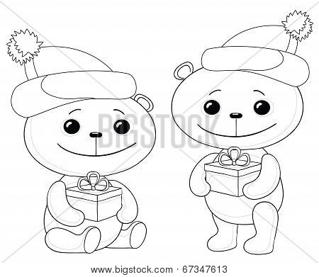 Teddy bears with gift boxes, contours
