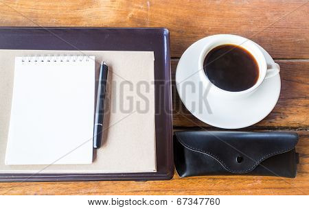 Simple Work Table With Cup Of Coffee