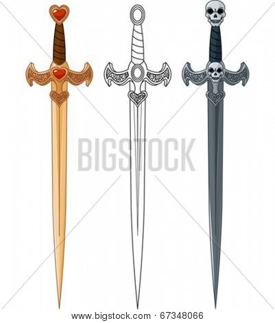 Three swords with rope bound handle and jeweled base