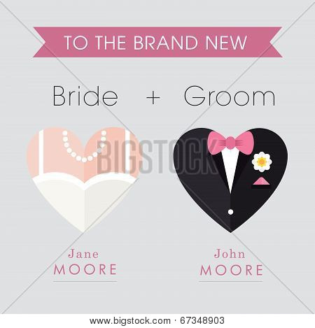 Bride and Groom Heart themed wedding card