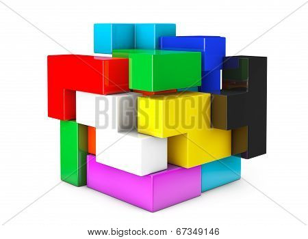Multicolour Cube Brain Teaser Game