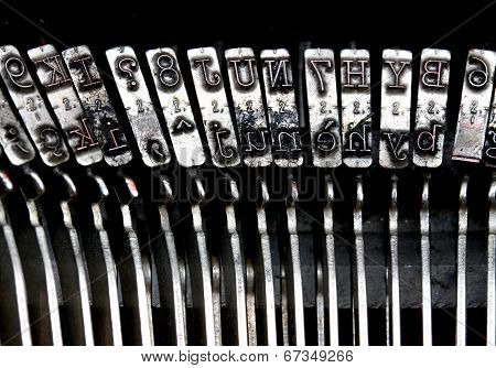 Detailed Particular Letters Of An Old Typewriter Ink Stained