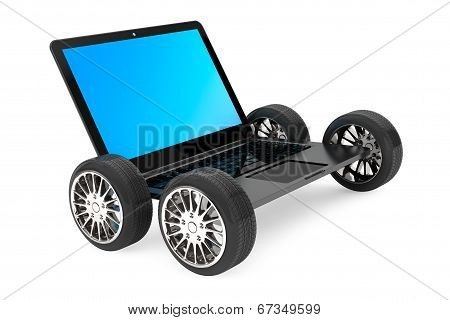 Modern Laptop With Car Wheels