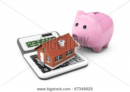Real Estate Concept. House With Calculator And Piggy Bank
