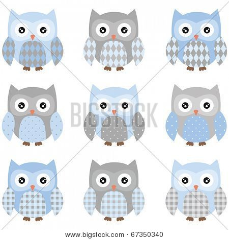 Cute Owl pattern set - Illustration