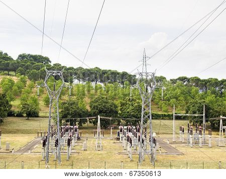 Power Plant With Pylons And Transformers, View From Above