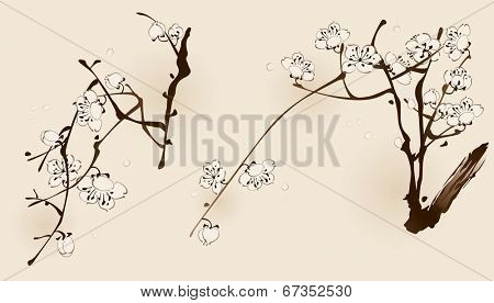 Plum blossom with line design in two different compositions