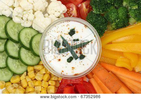 Vegetarian Vegetable Sticks With Dip For Eating