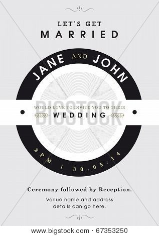 Wedding invitation black and grey theme