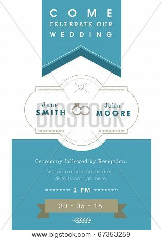Wedding invitation blue ribbon theme
