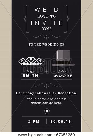 Wedding invitation mr and mrs theme