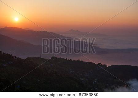 Beautiful Panorama Of Himalayan Mountains At Sunset, Pokhara, Nepal
