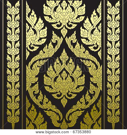 border thai pattern with thai pattern background