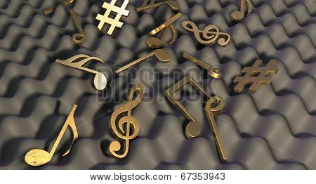 Sound Proof Foam And Musical Symbols