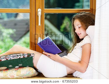 Cute Teenage Girl Siiting On Window Siil