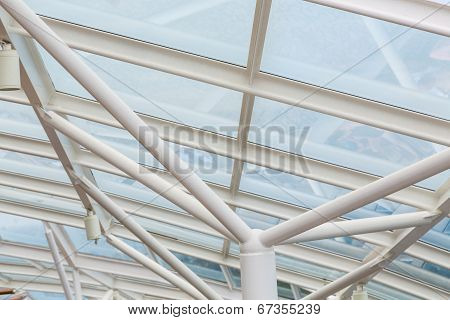 White Steel And Glass Over Atrium