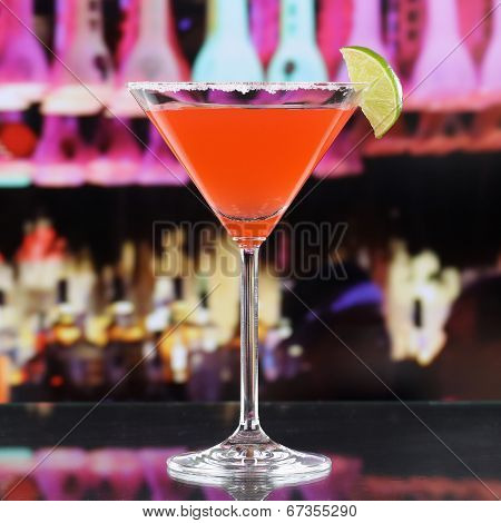 Red Martini Cocktail Drink In A Bar Or Disco