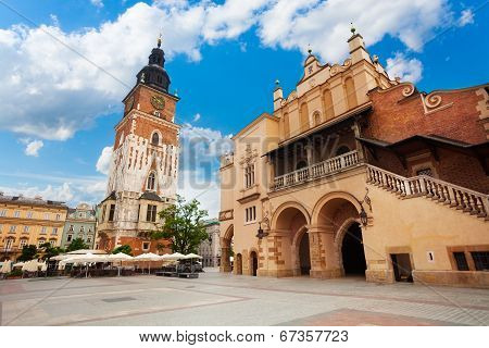 Town Hall Tower on Rynek Glowny in summer, Krakow