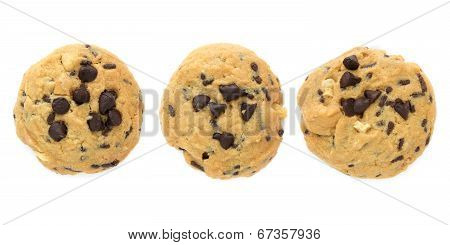 Set Of Chocolate Chips Cookies Isolated On White