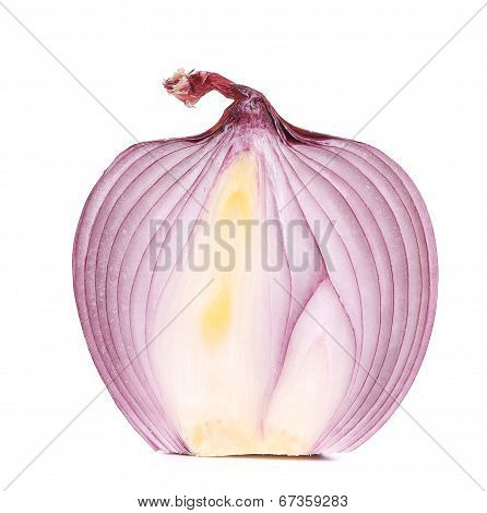 close up of cut red onion
