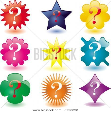 Set of 9 glass Question buttons