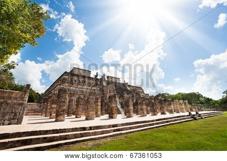 Temple and columns, Chichen Itza, Mexico