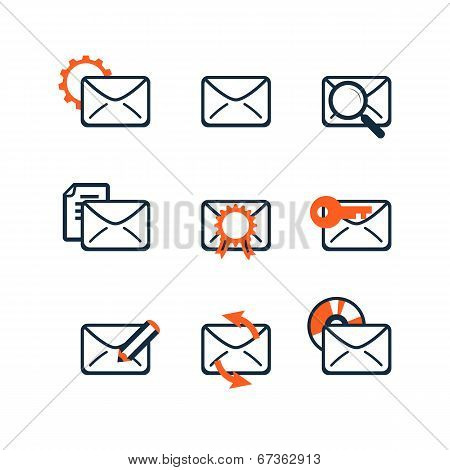 Icon Set. Web Development And Seo. E-mail Marketing. Flat Design