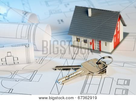 House With Blueprints And Keys