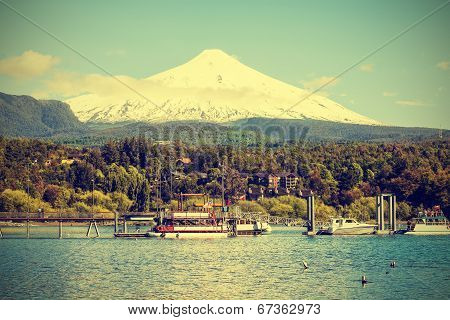 Snow Covered Volcano Villarica, Chile, Vintage Retro Style.