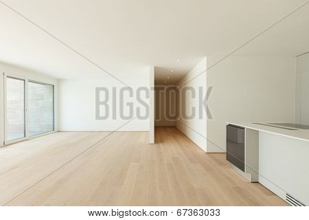 Interior, modern penthouse, empty living room with kitchen