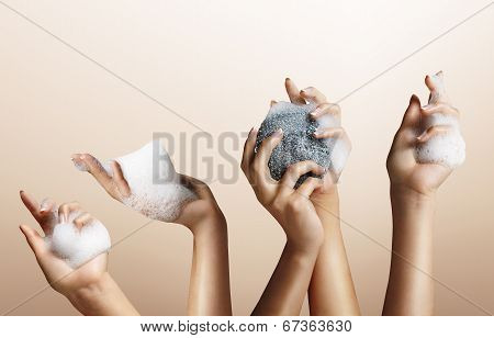 Set Of Woman Hand With Soap