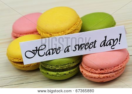 Have a sweet day card with colorful macaroons