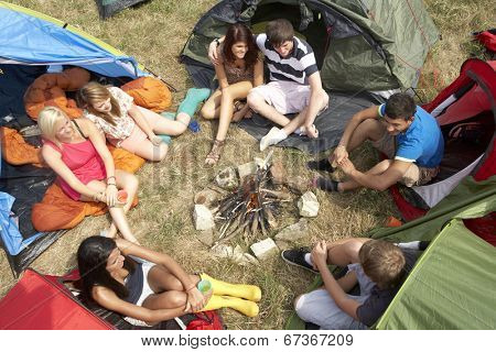 Young people on camping trip