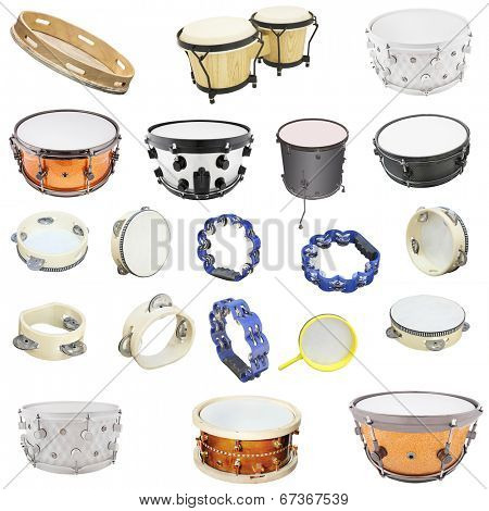 The image of percussion instruments under the white background