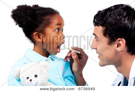 Assertive Doctor Taking His Patient's Temperature