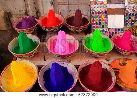 Display Of Colorful Paint At The Market, Pushkar, India