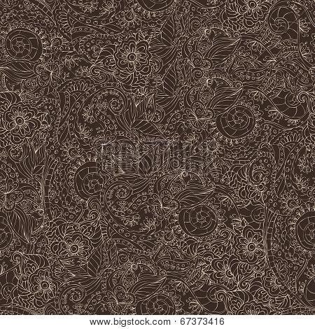 Ornamental seamless pattern dark