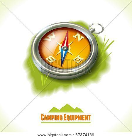 Camping symbol compass