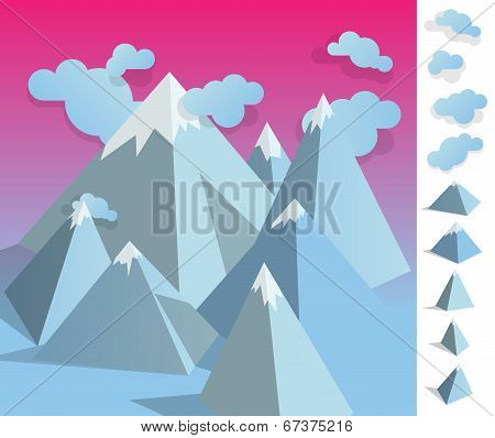 Illustration Of Geometric Iceberg Mountaun Landscape