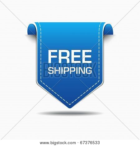 Free Shipping Blue Label Icon Vector Design