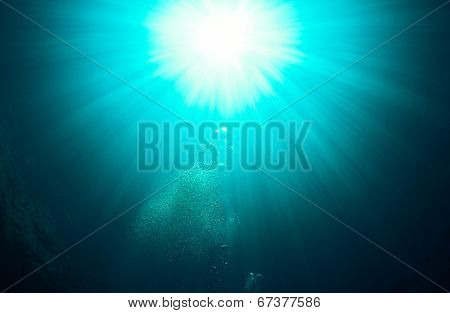 Green Underwater Sunburst