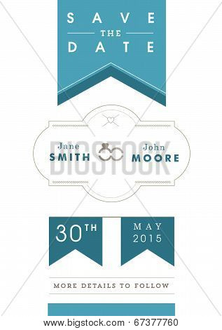 Save the date invitation blue ribbon theme