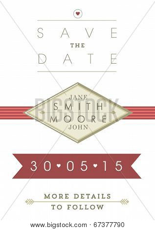 Save the date invitation red and gold ribbon theme